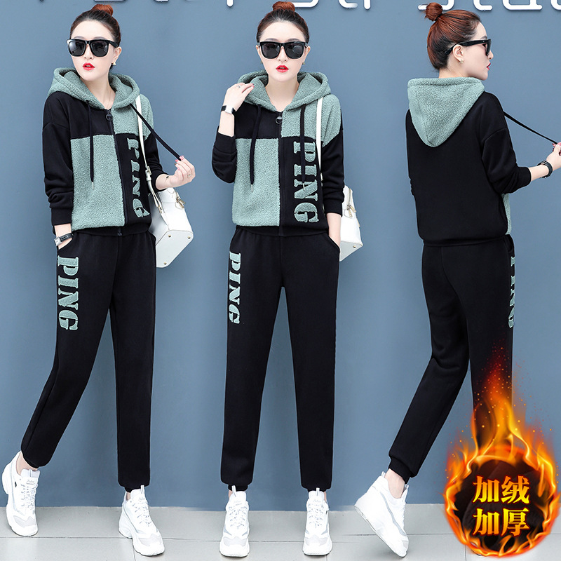 Berber Fleece Casual Sports WOMEN'S Suit 2019 Autumn & Winter New Style Large Size Loose-Fit Brushed And Thick Two-Piece Set