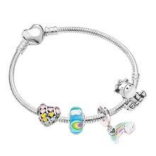 Hot Dreamland Charm Bracelets & Bangles For Women Girls With Rainbow Murano Glass Unicorn Beads Bracelet Fit DIY Making Jewelry