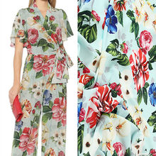 Imitation crepe de chine fabric cloth per meter material printed dress clothing handmade fabric wholesale cloth alibaba express