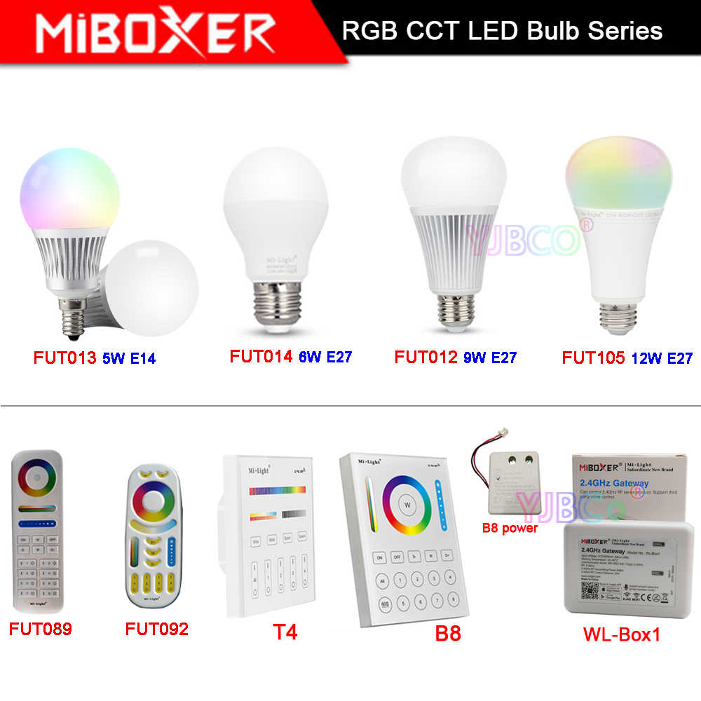 MiBOXER 5W 6W 9W 12W E14 E27 חכם RGB CCT led אור לילל מנורת 2.4G מרחוק FUT013/FUT014/FUT012/FUT105/FUT092/FUT089/T4/B8