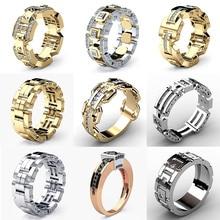 цены USTAR Industrial Geometric Men Rings Jewelry Gold/Silver Cubic Zirconia Bridal Engagement Rings for man Women Unisex female anel