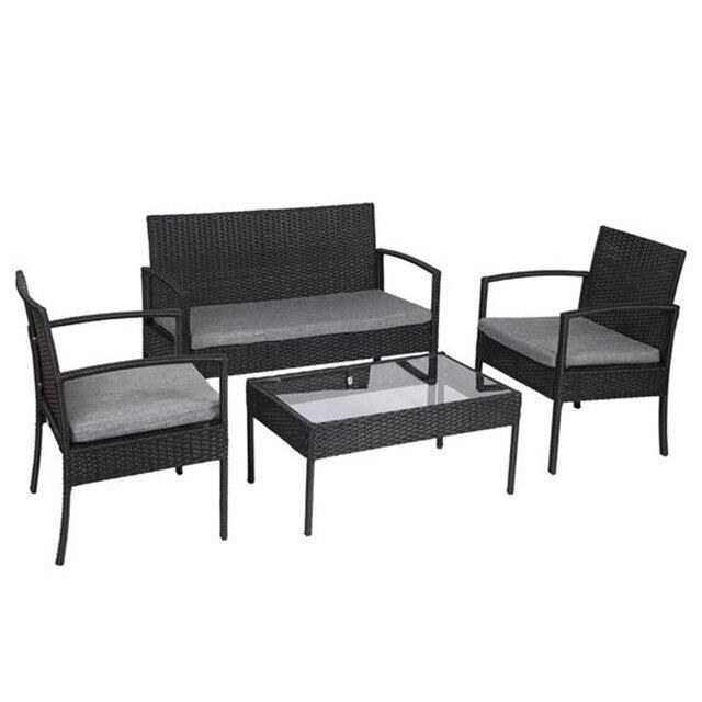 Outdoor Patio Furniture Rattan Garden Sofa Table,Black