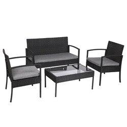 4 STUKS Outdoor Patio Rotan Rieten Meubels Set met Tafel Sofa Cushioned Zwarte Tuin stoelen