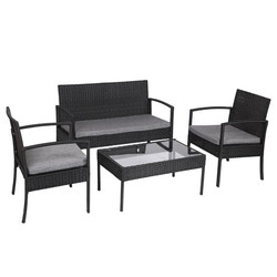 Meubles de Patio en rotin et osier 4 pièces | Ensemble de meubles avec canapé de Table rembourré, chaises de jardin noires