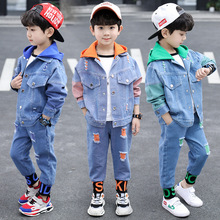 Boys Clothing Sets Children Spring & Autumn Denim Hooded Sports Suits Teen