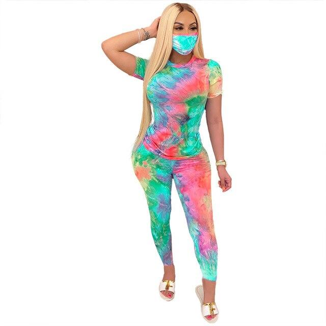 Большой размер, комплект из 2 предметов для клуба, женский летний костюм, разноцветный топ с принтом в виде галстука-красителя, облегающие шт...