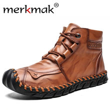 Merkmak Brand New Autumn Winter Men Leather Boots Warm Plush Snow Boots Fashion Lace-up Motorcycle Boots Big Size Casual Shoes(China)