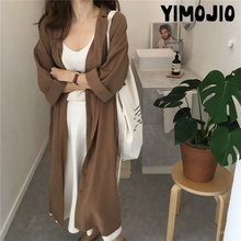 Trench coat Long Trench Spring coat women Casual Slim Trench coat for women Elegant Outside X-long Skirt coat Streetwear Solid cheap YIMOJIO Single Breasted Full Turn-down Collar Sashes Spliced Adjustable Waist Chiffon COTTON Polyester spandex