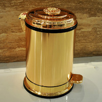 Cubo de basura de metal con pedal dorado para hotel villa, cocina, sala de estar, baño, cubierto, ZP5161020