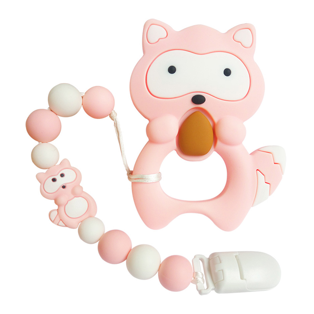 BOBO.BOX 1pc Silicone Teether Beads Cartoon Pacifier Chain Baby Teething Nursing Pacifier Clip Raccoon Silicone Teether NecklacE