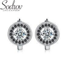 SODROV круглые ювелирные изделия из стерлингового серебра 925 пробы обручальные серьги-кольца для женщин Черный шпинель Bijoux T179