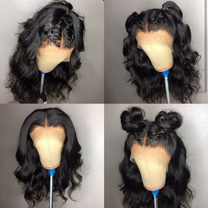 Image 4 - 13x6 lace front Brazilian Body Wave Fake Scalp Wig Lace Front Human Hair Wigs For Black Women pre plucked bleached knots 180%