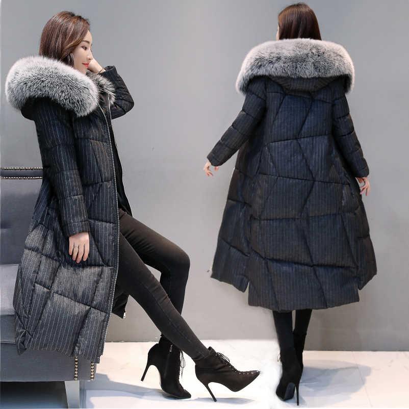 Zimowa kurtka damska + duże futra lisa ubrania z kapturem 2020 gruby ciepły 90% płaszcz z kaczego puchu damska kurtka puchowa Hiver 801113