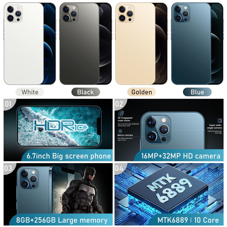 I12 Pro Max Grensoverschrijdende 6.7 Inch 12 + 512Gb Smartphone Fabrikanten Directe Verkoop Ik Mobiele Telefoon Android10.0 3