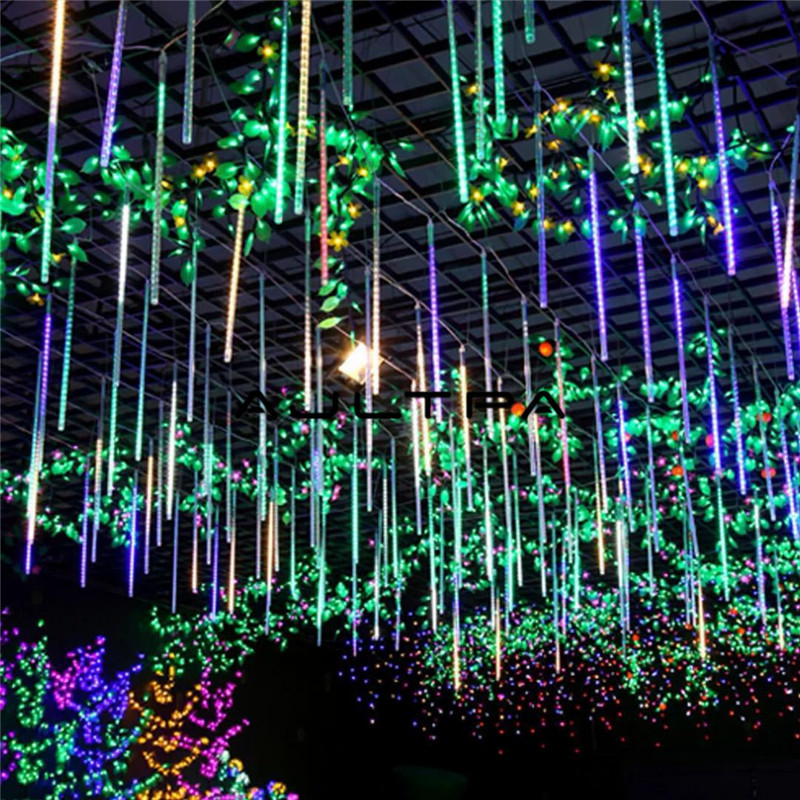 100set Waterproof 30/50cm 8 Tube Holiday Meteor Shower Rain LED String Lights For Indoor Outdoor Garden Wedding Party Decor Tree