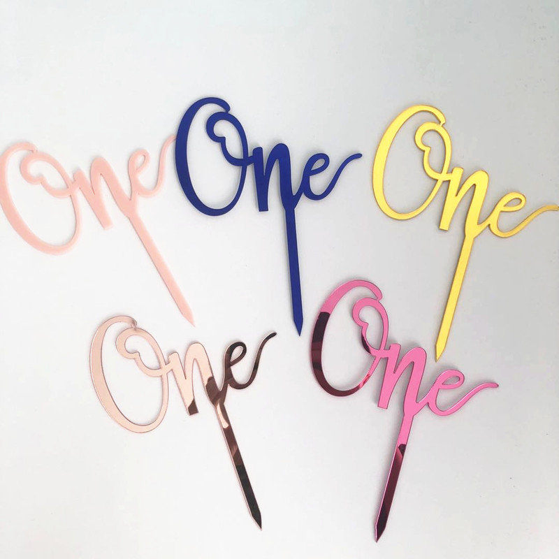 "New ""One"" Acrylic Cake <font><b>Topper</b></font> Rose <font"