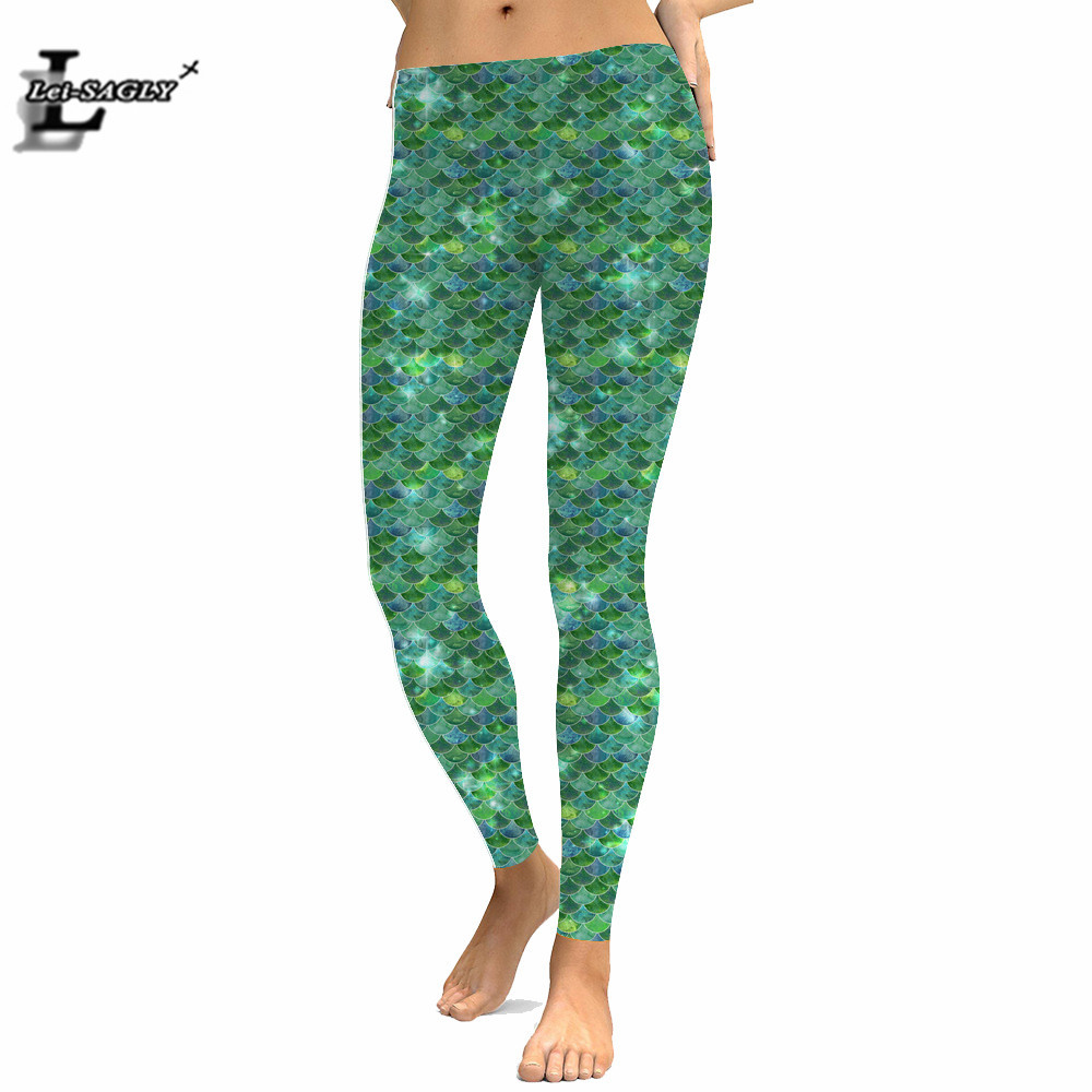 Mermaid 3D Compression Printed   Leggings   Green Cheap Stretch bling bling Women wet look Pants Plus Size Workout   Leggings