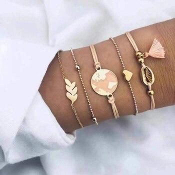20 Styles Women Girls Mix Round alloy Crystal Marble Charm Bracelets Fashion Boho Heart Shell Letter Bracelets Sets Jewelry Gift 22