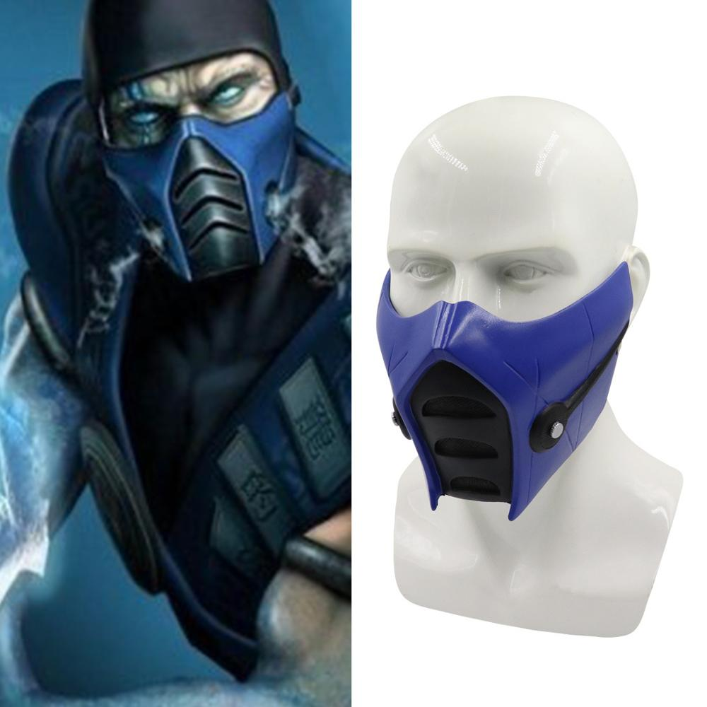 Game Mortal Kombat 11 Cosplay Masks Sub-Zero Half Face Resin Mask Helmet Halloween Carnival Party Prop 2019