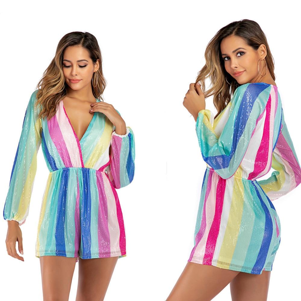 BacklakeGirls Women's Striped Romper Celebrity Party Sequined Dress Women Long Sleeve Sexy V Neck Luxury Club Dress Vestidos