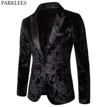 Блейзер мужской бархатный на одной пуговице, приталенный стильный вечерний, праздничный, для выпускного вечера, черный