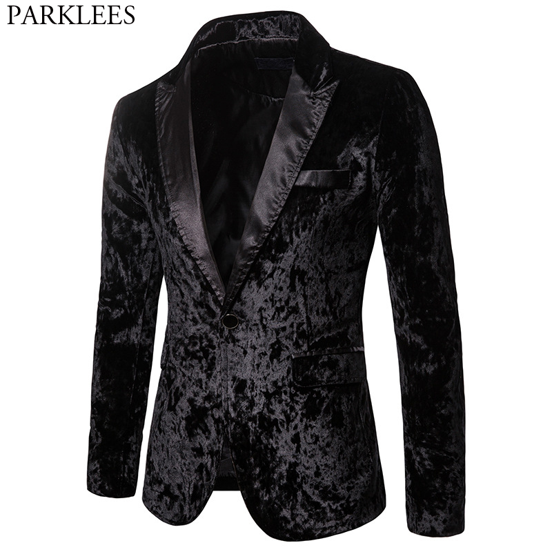 Black Gorgeous Ceremony Velvet Blazer Jacket One Button Slim Fit Stylish Velour Suit Blazer Men Party Stage Prom Blazer Hombre