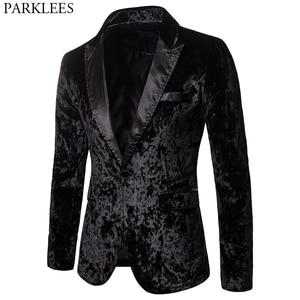 Image 1 - Black Gorgeous Ceremony Velvet Blazer Jacket One Button Slim Fit Stylish Velour Suit Blazer Men Party Stage Prom Blazer Hombre