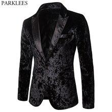 Blazer noir en velours pour homme, veste noire magnifique de cérémonie, veste à un bouton, Slim, élégant, costume pour bal de promo pour fête