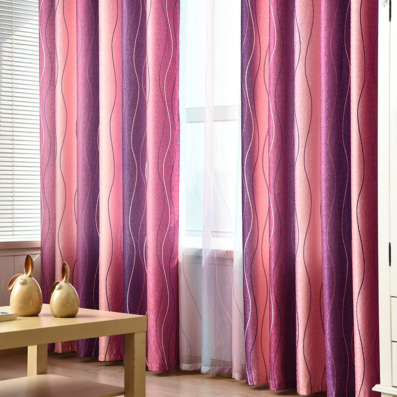 Modern Simple Purple Stripe Printing Shading Curtains For Living Dining Room Bedroom.