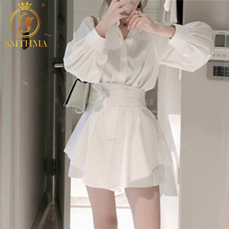 SMTHMA 2019 New Summer Women White Long Shirts Two Piece Sets Lantern Sleeve Blouse + High Waist Wide Leg Shorts Suits