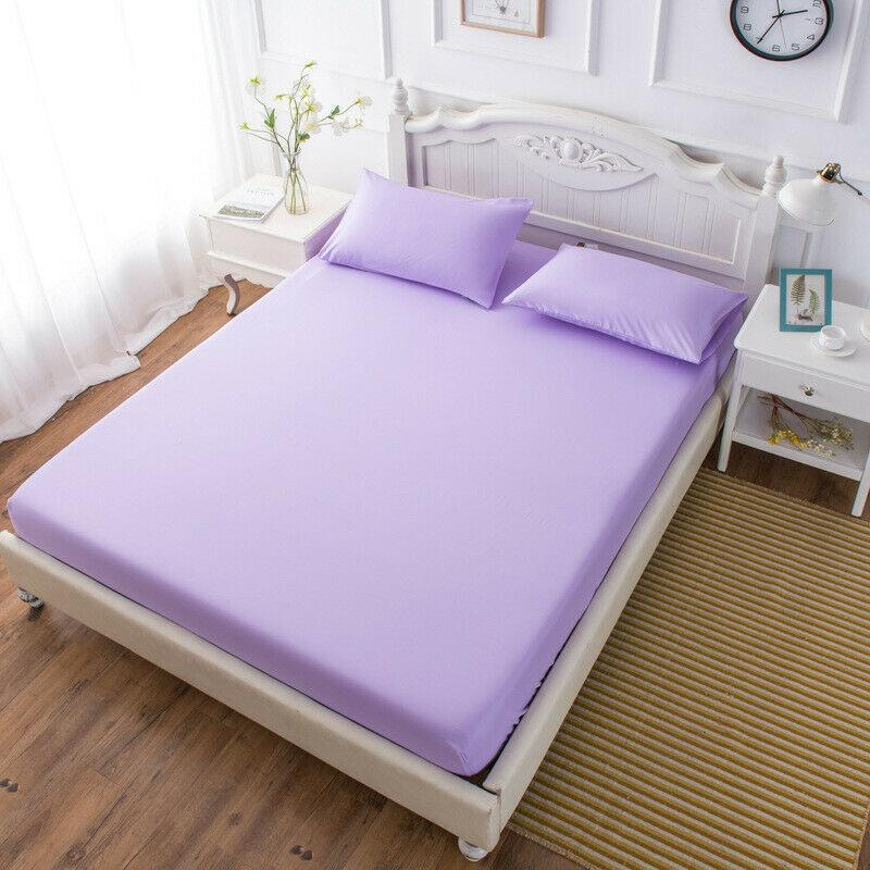 13  New Bed Fitted Sheet Elastic Sheets Polyester And Cotton Single Twin Full Queen King Solid Color Sheets