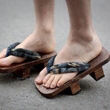 Erkekler japon geleneksel takunya Geta ahşap ayakkabılar Samurai Flip flop açık terlik yaz plaj Anime Cosplay sandalet