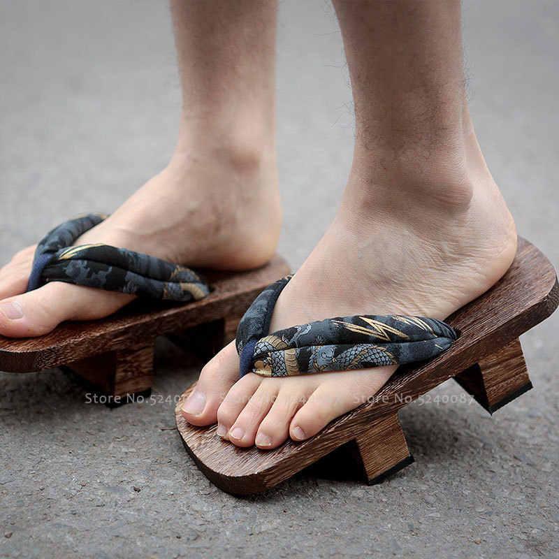 Männer Japanischen Traditionellen Clogs Geta Holz Schuhe Samurai Flip-Flops Naruto Outdoor Hausschuhe Sommer Strand Anime Cosplay Sandalen