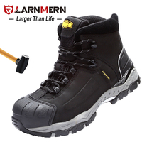 LARNMERM Safety Shoes Work Shoes Steel Toe Comfortable Genuine Leather Waterproof Construction Warehouse Factory Protection Shoe
