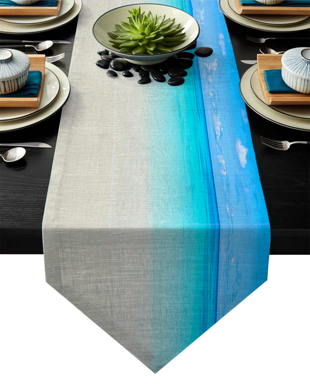 Modern Table Runner Blue Ocean Landscape Print Table Runners For Wedding Party Home Decorations Picnic Dinner Dining Table Cover Table Runners Aliexpress