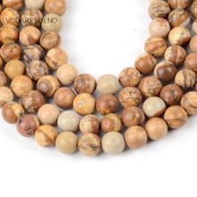 "Natural Picture Jaspers Round Loose Beads For Jewelry Making 4-12mm Spacer Beads Fit Diy Bracelet Necklace Accessory 15"" Strand цена"