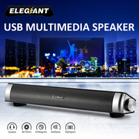 ELEGIANT Portable USB Speakers Subwoofer Stereo Surround Soundbar Music Player for Computer Desktop Laptop PC TV Phone Sound Bar