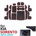 Противоскользящие резиновые чашки подушки двери паз коврик для KIA Sorento Prime UM MK3 2015 ~ 2019 автомобильные аксессуары коврик телефона 2018