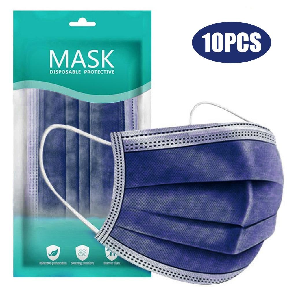 10-100 шт. взрослых одноразовые маски Темно-синие 3 слоя Фильтр нетканые маска для лица на открытом воздухе с защитой от пыли Защитная маска для...