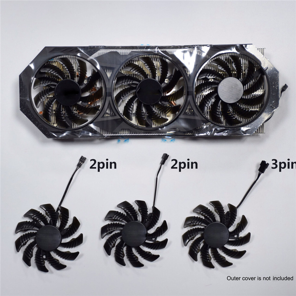 Replacement Graphics Card Cooling Fan 2 Pin/3 Pin 75MM For Gigabyte GTX 970 Cooler Repair Parts Accessories T128010SM