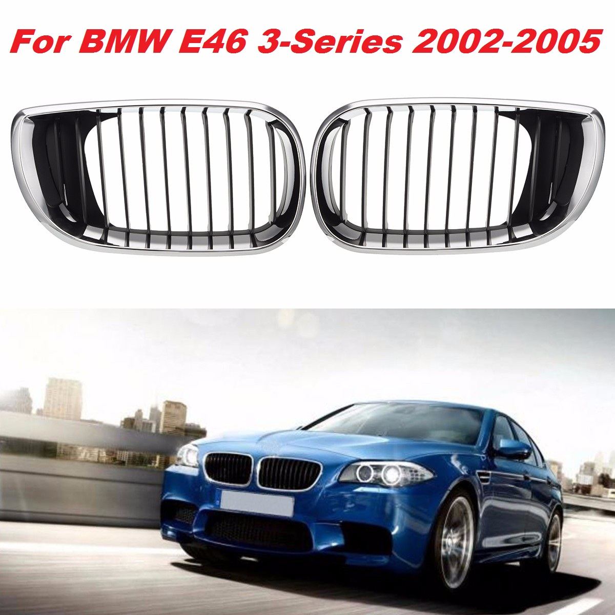 Hot Sale Pair Gloss Black Car Grill Front M-color Kidney Grille Grill For BMW E46 4D 3 Series 2002 2003 2004 2005 2006