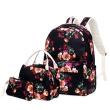 3pcs Floral School Backpack Nylon Laptop Daypack Teenage Schoolbag Bookbag Lunch Bag Pencil Case Set for Women Girls dispalang cute ballet girls school backpack and lunch pouch set pretty bookbag insulated cooler bag for children pencil case kid