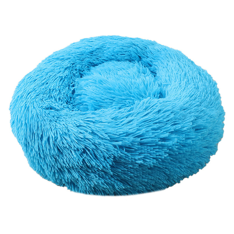 Dog Pet Bed Kennel Round Cat Bed Winter Warm Dog House Sleeping Bag Long Plush Super Soft Pet Bed Puppy Cushion Mat Cat Supplies 6