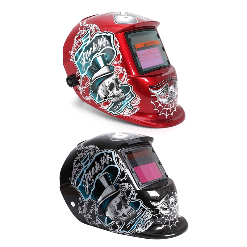 2 Pcs Welding Mask Helmet Solar Automatic Welding (Use Solar Energy for Refill) Skull and Spider Web Protective Accessory  Black|  - title=