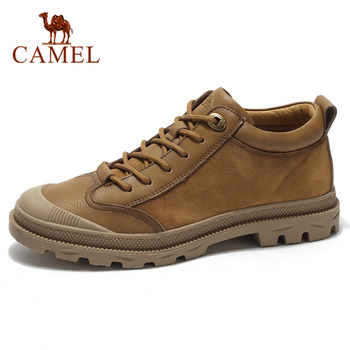 CAMEL Autumn Winter New Martin Boots Men's Boots Short Boots Casual Wild Tooling Frosted Suede Cowhide Elastic Footwear