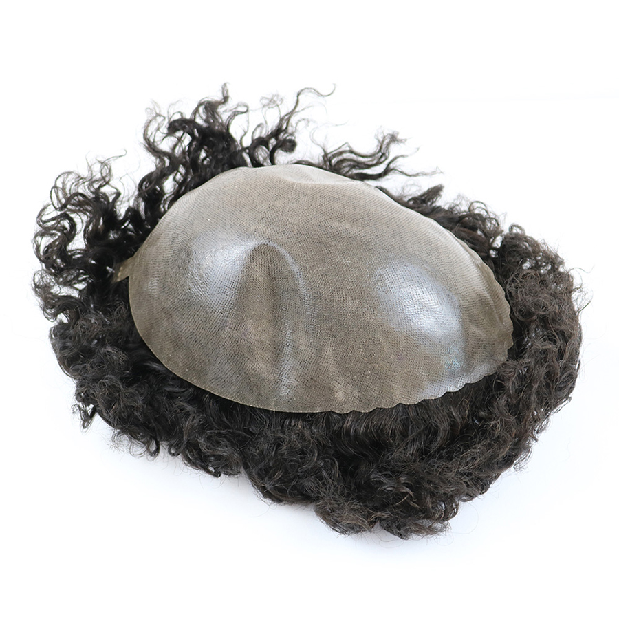 Image 4 - Durable Skin Base 20mm Deep Curl Men Human Hair System Replacement Toupee Hairpiece Installation Wig Prosthesis for Hair LossToupees   -