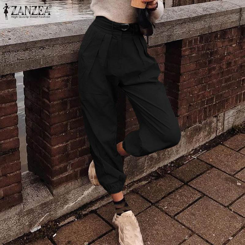 Women's Pants ZANZEA 2020 Fashion Lady Zipper Button Long Harem Pants Casual Loose Belted Trousers Pantalones Streewear Oversize