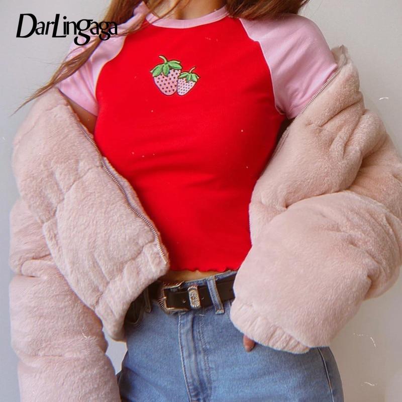 Darlingaga Harajuku Sweet Strawberry Embroidery Tshirt Crop Tops Skinny Cute Patchwork Summer T shirt Women Contrast Color Tees