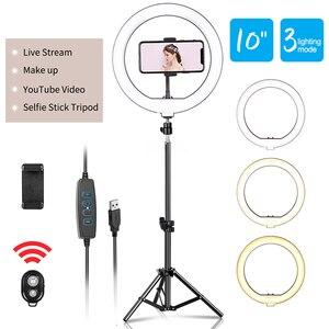 10-дюймовый светодиодный светильник для селфи с регулируемой яркостью, светильник для фото-и видеосъемки, кольцевой светильник для Live YouTube, ж...