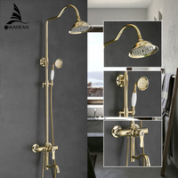 Fashion Shower Faucets Brass Gold Faucet Round Tube Single Handle Top Rain Shower With Slide Bar Wall Water Mixer Tap 877812K
